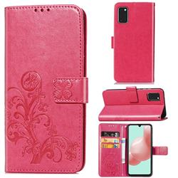 Embossing Imprint Four-Leaf Clover Leather Wallet Case for Samsung Galaxy A41 - Rose Red