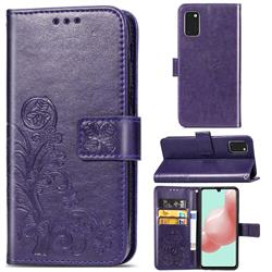 Embossing Imprint Four-Leaf Clover Leather Wallet Case for Samsung Galaxy A41 - Purple