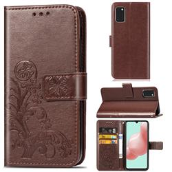 Embossing Imprint Four-Leaf Clover Leather Wallet Case for Samsung Galaxy A41 - Brown
