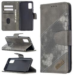 BinfenColor BF04 Color Block Stitching Crocodile Leather Case Cover for Samsung Galaxy A41 - Gray