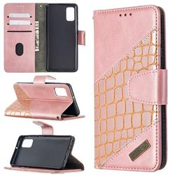 BinfenColor BF04 Color Block Stitching Crocodile Leather Case Cover for Samsung Galaxy A41 - Rose Gold