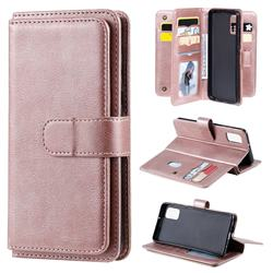 Multi-function Ten Card Slots and Photo Frame PU Leather Wallet Phone Case Cover for Samsung Galaxy A41 - Rose Gold