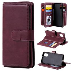 Multi-function Ten Card Slots and Photo Frame PU Leather Wallet Phone Case Cover for Samsung Galaxy A41 - Claret