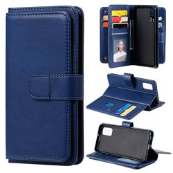 Multi-function Ten Card Slots and Photo Frame PU Leather Wallet Phone Case Cover for Samsung Galaxy A41 - Dark Blue