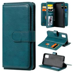 Multi-function Ten Card Slots and Photo Frame PU Leather Wallet Phone Case Cover for Samsung Galaxy A41 - Dark Green