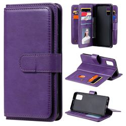 Multi-function Ten Card Slots and Photo Frame PU Leather Wallet Phone Case Cover for Samsung Galaxy A41 - Violet