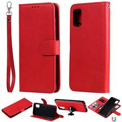 Retro Greek Detachable Magnetic PU Leather Wallet Phone Case for Samsung Galaxy A41 - Red