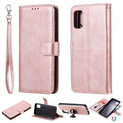 Retro Greek Detachable Magnetic PU Leather Wallet Phone Case for Samsung Galaxy A41 - Rose Gold