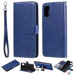 Retro Greek Detachable Magnetic PU Leather Wallet Phone Case for Samsung Galaxy A41 - Blue