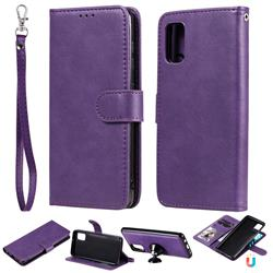 Retro Greek Detachable Magnetic PU Leather Wallet Phone Case for Samsung Galaxy A41 - Purple