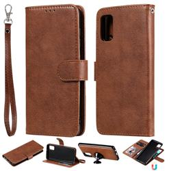 Retro Greek Detachable Magnetic PU Leather Wallet Phone Case for Samsung Galaxy A41 - Brown