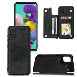 Luxury Mandala Multi-function Magnetic Card Slots Stand Leather Back Cover for Samsung Galaxy A41 - Black