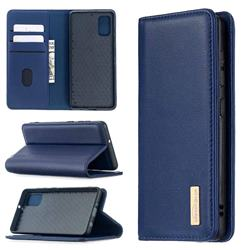 Binfen Color BF06 Luxury Classic Genuine Leather Detachable Magnet Holster Cover for Samsung Galaxy A41 - Blue