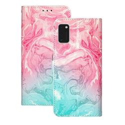 Pink Green Marble PU Leather Wallet Case for Samsung Galaxy A41
