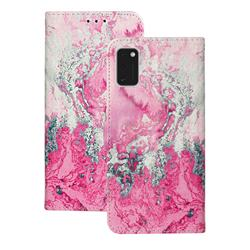 Pink Seawater PU Leather Wallet Case for Samsung Galaxy A41