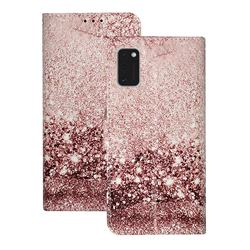 Glittering Rose Gold PU Leather Wallet Case for Samsung Galaxy A41