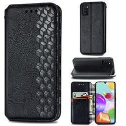 Ultra Slim Fashion Business Card Magnetic Automatic Suction Leather Flip Cover for Samsung Galaxy A41 - Black