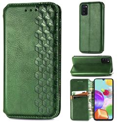 Ultra Slim Fashion Business Card Magnetic Automatic Suction Leather Flip Cover for Samsung Galaxy A41 - Green