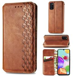 Ultra Slim Fashion Business Card Magnetic Automatic Suction Leather Flip Cover for Samsung Galaxy A41 - Brown