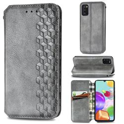 Ultra Slim Fashion Business Card Magnetic Automatic Suction Leather Flip Cover for Samsung Galaxy A41 - Grey