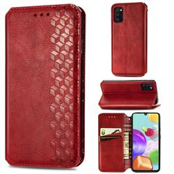 Ultra Slim Fashion Business Card Magnetic Automatic Suction Leather Flip Cover for Samsung Galaxy A41 - Red