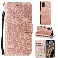 Intricate Embossing Lace Jasmine Flower Leather Wallet Case for Samsung Galaxy A41 - Rose Gold