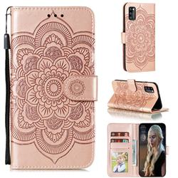 Intricate Embossing Datura Solar Leather Wallet Case for Samsung Galaxy A41 - Rose Gold