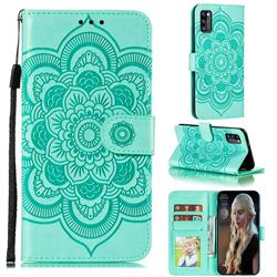 Intricate Embossing Datura Solar Leather Wallet Case for Samsung Galaxy A41 - Green