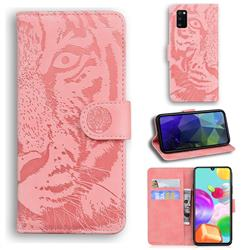 Intricate Embossing Tiger Face Leather Wallet Case for Samsung Galaxy A41 - Pink