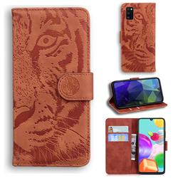 Intricate Embossing Tiger Face Leather Wallet Case for Samsung Galaxy A41 - Brown
