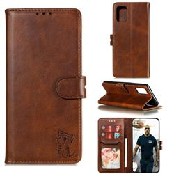 Embossing Happy Cat Leather Wallet Case for Samsung Galaxy A41 - Brown