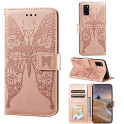Intricate Embossing Rose Flower Butterfly Leather Wallet Case for Samsung Galaxy A41 - Rose Gold