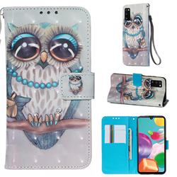 Sweet Gray Owl 3D Painted Leather Wallet Case for Samsung Galaxy A41