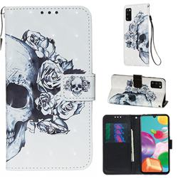 Skull Flower 3D Painted Leather Wallet Case for Samsung Galaxy A41