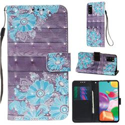 Blue Flower 3D Painted Leather Wallet Case for Samsung Galaxy A41