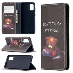 Chainsaw Bear Slim Magnetic Attraction Wallet Flip Cover for Samsung Galaxy A41