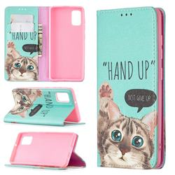 Hand Up Cat Slim Magnetic Attraction Wallet Flip Cover for Samsung Galaxy A41
