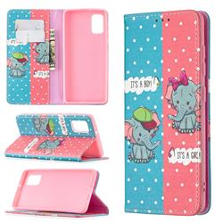 Elephant Boy and Girl Slim Magnetic Attraction Wallet Flip Cover for Samsung Galaxy A41