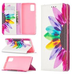 Sun Flower Slim Magnetic Attraction Wallet Flip Cover for Samsung Galaxy A41