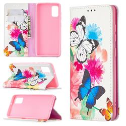 Flying Butterflies Slim Magnetic Attraction Wallet Flip Cover for Samsung Galaxy A41