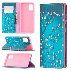 Plum Blossom Slim Magnetic Attraction Wallet Flip Cover for Samsung Galaxy A41