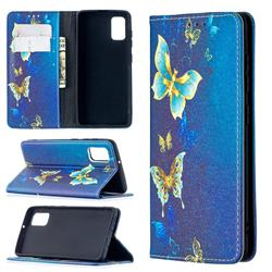 Gold Butterfly Slim Magnetic Attraction Wallet Flip Cover for Samsung Galaxy A41