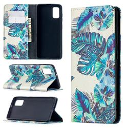 Blue Leaf Slim Magnetic Attraction Wallet Flip Cover for Samsung Galaxy A41