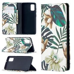Flower Leaf Slim Magnetic Attraction Wallet Flip Cover for Samsung Galaxy A41