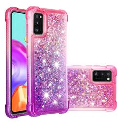 Rainbow Gradient Liquid Glitter Quicksand Sequins Phone Case for Samsung Galaxy A41 - Pink Purple