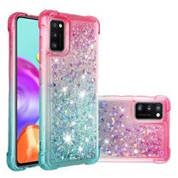 Rainbow Gradient Liquid Glitter Quicksand Sequins Phone Case for Samsung Galaxy A41 - Pink Blue