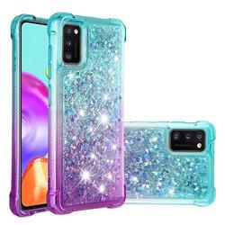 Rainbow Gradient Liquid Glitter Quicksand Sequins Phone Case for Samsung Galaxy A41 - Blue Purple