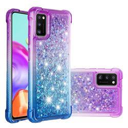Rainbow Gradient Liquid Glitter Quicksand Sequins Phone Case for Samsung Galaxy A41 - Purple Blue