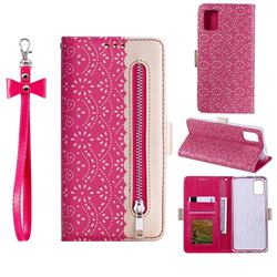 Luxury Lace Zipper Stitching Leather Phone Wallet Case for Samsung Galaxy A41 - Rose