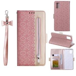 Luxury Lace Zipper Stitching Leather Phone Wallet Case for Samsung Galaxy A41 - Pink